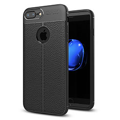 Soft Silicone Gel Leather Snap On Case Cover S05 for Apple iPhone 7 Plus Black