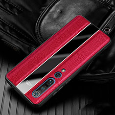 Soft Silicone Gel Leather Snap On Case Cover S05 for Xiaomi Mi 10 Pro Red