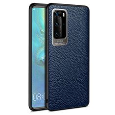 Soft Silicone Gel Leather Snap On Case Cover S08 for Huawei P40 Pro Blue