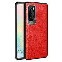 Soft Silicone Gel Leather Snap On Case Cover S08 for Huawei P40 Red