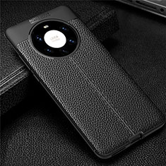 Soft Silicone Gel Leather Snap On Case Cover U01 for Huawei Mate 40 Pro+ Plus Black