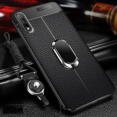Soft Silicone Gel Leather Snap On Case Cover with Magnetic Finger Ring Stand for Huawei Enjoy 10 Black