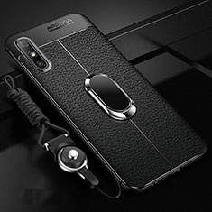 Soft Silicone Gel Leather Snap On Case Cover with Magnetic Finger Ring Stand for Huawei Enjoy 10e Black