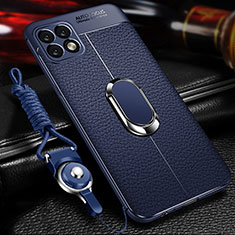Soft Silicone Gel Leather Snap On Case Cover with Magnetic Finger Ring Stand for Huawei Enjoy 20 5G Blue
