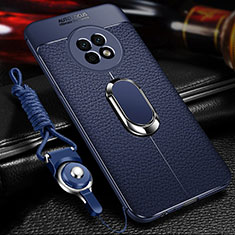 Soft Silicone Gel Leather Snap On Case Cover with Magnetic Finger Ring Stand for Huawei Enjoy 20 Plus 5G Blue
