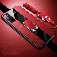 Soft Silicone Gel Leather Snap On Case Cover with Magnetic Finger Ring Stand for Huawei Enjoy 20 Pro 5G Red