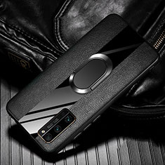 Soft Silicone Gel Leather Snap On Case Cover with Magnetic Finger Ring Stand for Huawei Honor 30 Pro Black