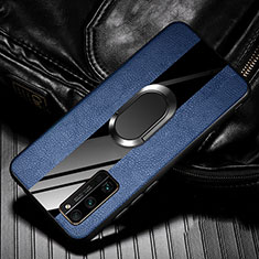 Soft Silicone Gel Leather Snap On Case Cover with Magnetic Finger Ring Stand for Huawei Honor 30 Pro Blue