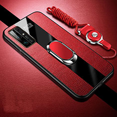 Soft Silicone Gel Leather Snap On Case Cover with Magnetic Finger Ring Stand for Huawei Honor 30 Red