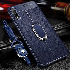 Soft Silicone Gel Leather Snap On Case Cover with Magnetic Finger Ring Stand for Huawei Honor 9X Blue