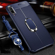Soft Silicone Gel Leather Snap On Case Cover with Magnetic Finger Ring Stand for Huawei Honor 9X Pro Blue