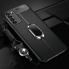 Soft Silicone Gel Leather Snap On Case Cover with Magnetic Finger Ring Stand for Huawei Honor Play4 5G Black