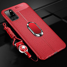 Soft Silicone Gel Leather Snap On Case Cover with Magnetic Finger Ring Stand for Huawei Honor Play4 Pro 5G Red