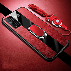 Soft Silicone Gel Leather Snap On Case Cover with Magnetic Finger Ring Stand for Huawei Honor Play4T Pro Red