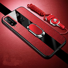 Soft Silicone Gel Leather Snap On Case Cover with Magnetic Finger Ring Stand for Huawei Honor Play4T Red