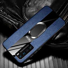 Soft Silicone Gel Leather Snap On Case Cover with Magnetic Finger Ring Stand for Huawei Nova 7 Pro 5G Blue