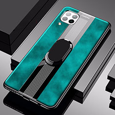 Soft Silicone Gel Leather Snap On Case Cover with Magnetic Finger Ring Stand for Huawei P40 Lite Green