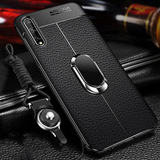 Soft Silicone Gel Leather Snap On Case Cover with Magnetic Finger Ring Stand for Huawei Y8p Black