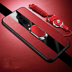 Soft Silicone Gel Leather Snap On Case Cover with Magnetic Finger Ring Stand for OnePlus 8 Red