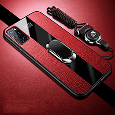 Soft Silicone Gel Leather Snap On Case Cover with Magnetic Finger Ring Stand for Oppo A52 Red