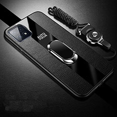 Soft Silicone Gel Leather Snap On Case Cover with Magnetic Finger Ring Stand for Oppo A73 5G Black