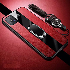 Soft Silicone Gel Leather Snap On Case Cover with Magnetic Finger Ring Stand for Oppo A92s 5G Red