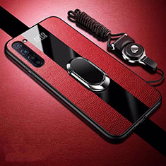 Soft Silicone Gel Leather Snap On Case Cover with Magnetic Finger Ring Stand for Oppo Find X2 Lite Red