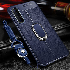 Soft Silicone Gel Leather Snap On Case Cover with Magnetic Finger Ring Stand for Oppo Find X2 Neo Blue