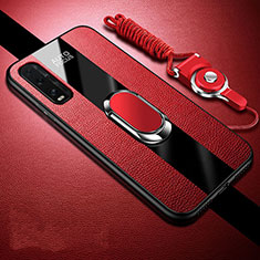 Soft Silicone Gel Leather Snap On Case Cover with Magnetic Finger Ring Stand for Oppo Find X2 Red