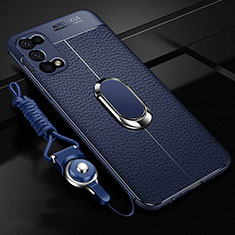 Soft Silicone Gel Leather Snap On Case Cover with Magnetic Finger Ring Stand for Oppo K7x 5G Blue