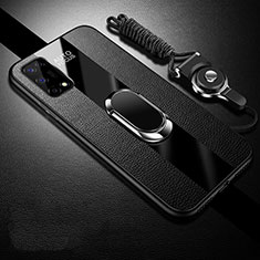 Soft Silicone Gel Leather Snap On Case Cover with Magnetic Finger Ring Stand for Realme V5 5G Black