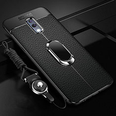 Soft Silicone Gel Leather Snap On Case Cover with Magnetic Finger Ring Stand for Realme X Black
