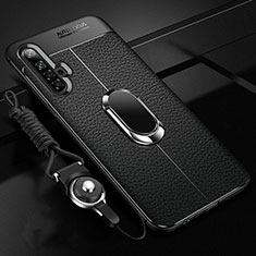 Soft Silicone Gel Leather Snap On Case Cover with Magnetic Finger Ring Stand for Realme X3 SuperZoom Black