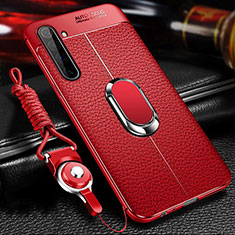 Soft Silicone Gel Leather Snap On Case Cover with Magnetic Finger Ring Stand for Realme X50 Pro 5G Red