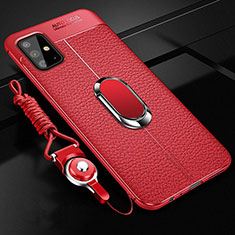 Soft Silicone Gel Leather Snap On Case Cover with Magnetic Finger Ring Stand for Samsung Galaxy A51 4G Red