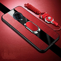 Soft Silicone Gel Leather Snap On Case Cover with Magnetic Finger Ring Stand for Vivo Nex 3 Red