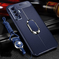 Soft Silicone Gel Leather Snap On Case Cover with Magnetic Finger Ring Stand for Vivo X50 5G Blue