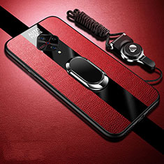 Soft Silicone Gel Leather Snap On Case Cover with Magnetic Finger Ring Stand for Vivo X50 Lite Red