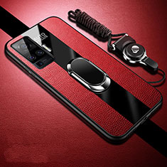Soft Silicone Gel Leather Snap On Case Cover with Magnetic Finger Ring Stand for Vivo X51 5G Red