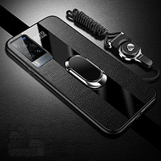 Soft Silicone Gel Leather Snap On Case Cover with Magnetic Finger Ring Stand for Vivo X60 5G Black