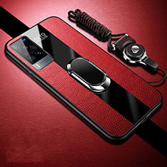 Soft Silicone Gel Leather Snap On Case Cover with Magnetic Finger Ring Stand for Vivo X60 5G Red