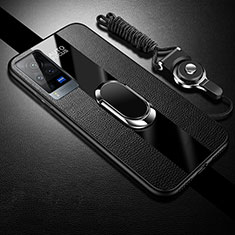 Soft Silicone Gel Leather Snap On Case Cover with Magnetic Finger Ring Stand for Vivo X60 Pro 5G Black