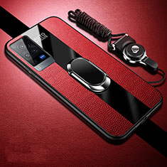 Soft Silicone Gel Leather Snap On Case Cover with Magnetic Finger Ring Stand for Vivo X60 Pro 5G Red