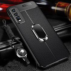 Soft Silicone Gel Leather Snap On Case Cover with Magnetic Finger Ring Stand for Vivo Y20s Black