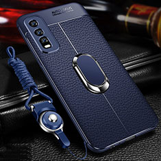 Soft Silicone Gel Leather Snap On Case Cover with Magnetic Finger Ring Stand for Vivo Y20s Blue