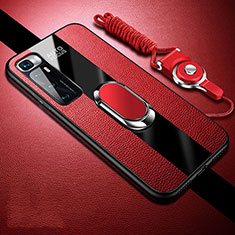 Soft Silicone Gel Leather Snap On Case Cover with Magnetic Finger Ring Stand for Xiaomi Mi 10 Ultra Red