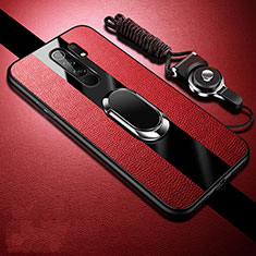 Soft Silicone Gel Leather Snap On Case Cover with Magnetic Finger Ring Stand for Xiaomi Redmi 9 Prime India Red