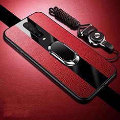 Soft Silicone Gel Leather Snap On Case Cover with Magnetic Finger Ring Stand for Xiaomi Redmi K30 5G Red