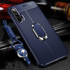 Soft Silicone Gel Leather Snap On Case Cover with Magnetic Finger Ring Stand S01 for Huawei Honor 20 Pro Blue