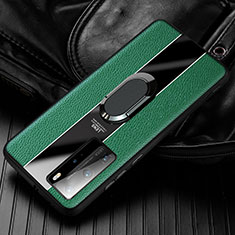 Soft Silicone Gel Leather Snap On Case Cover with Magnetic Finger Ring Stand S01 for Huawei Honor 30 Green